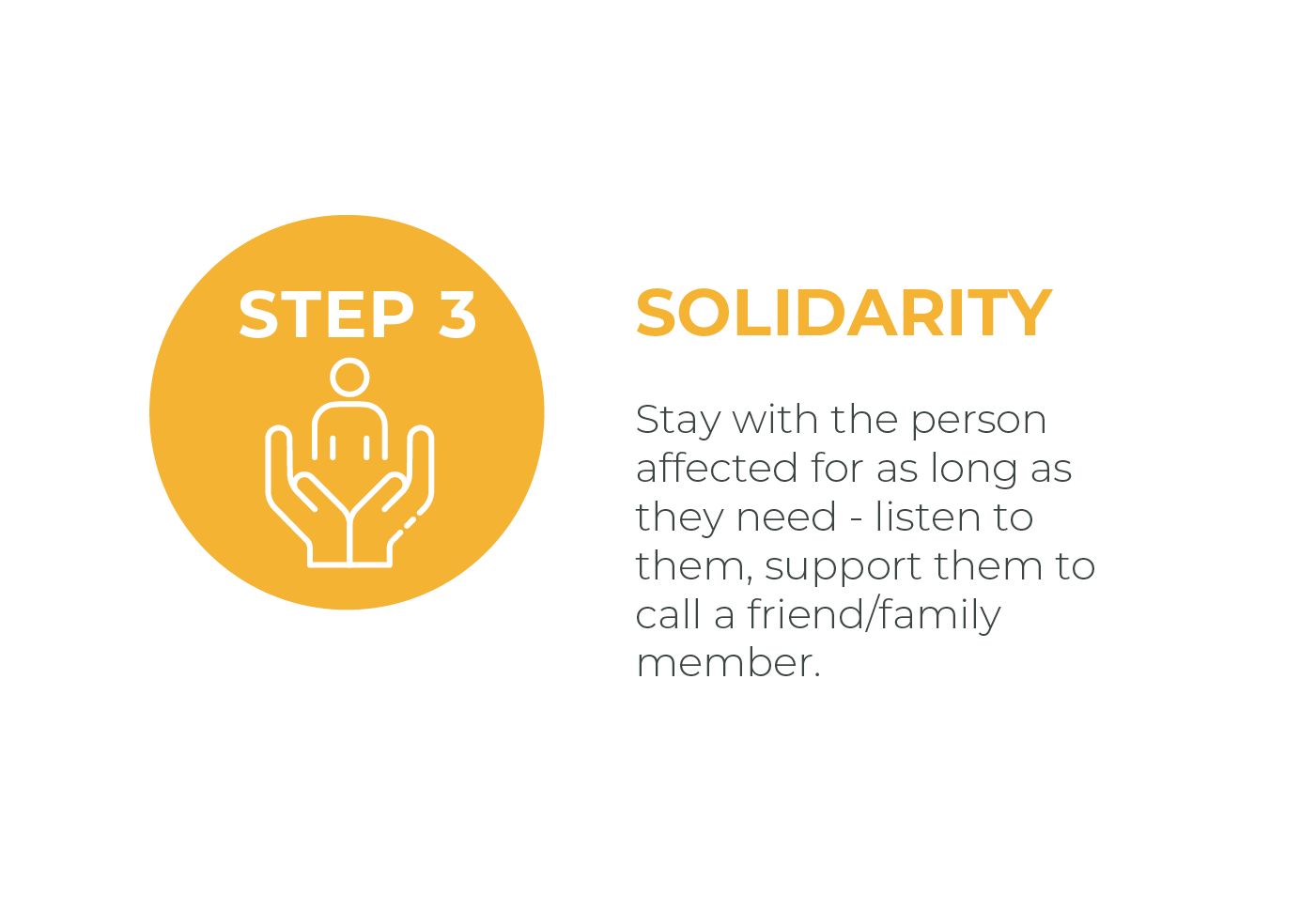 Graphic showing solidarity step and description