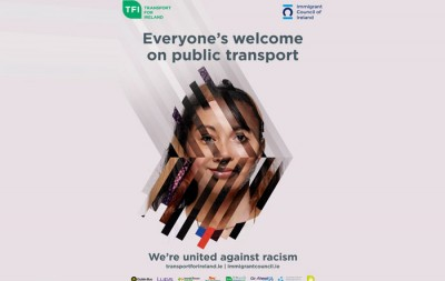 Image of multi-ethnic face: Everyone's welcome on public transit