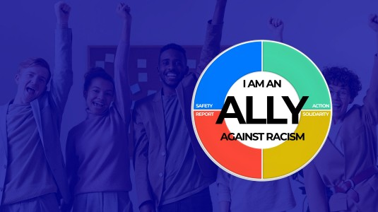 Group of diverse people: I am an Ally Against Racism